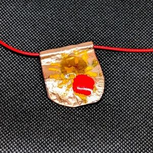 Vitreous Enamel Pendant in Beige, Yellow, and Red